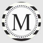 Stripe Bold black and white monogram stripe Classic Round Sticker