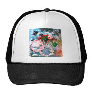 Stripe common cherry tree mesh hat