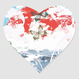 Stripe common coastal highway and butterfly heart sticker