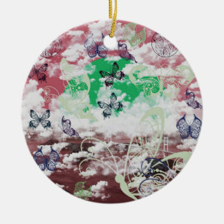 Stripe common coastal highway and butterfly Double-Sided ceramic round christmas ornament