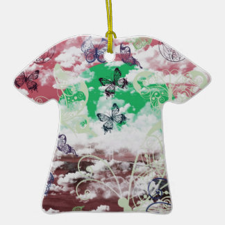 Stripe common coastal highway and butterfly Double-Sided T-Shirt ceramic christmas ornament