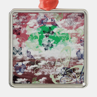 Stripe common coastal highway and butterfly square metal christmas ornament