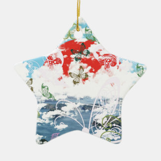 Stripe common coastal highway and butterfly Double-Sided star ceramic christmas ornament