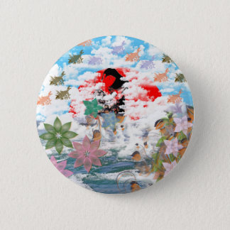Stripe common coastal highway and carp pinback button