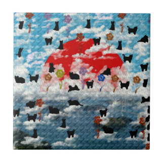 Stripe common coastal highway and cat picture wind ceramic tile