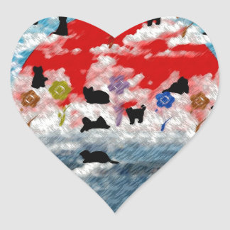 Stripe common coastal highway and cat picture wind heart sticker