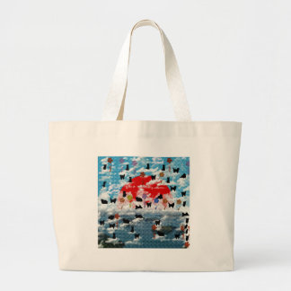 Stripe common coastal highway and cat picture wind large tote bag