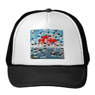 Stripe common coastal highway and cat picture wind trucker hat