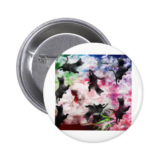 Stripe common coastal highway and cat pinback button
