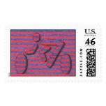 stripe cyclist stamp