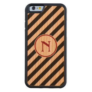 Stripe diagonal nautical monogram black red cherry carved® cherry iPhone 6 bumper case