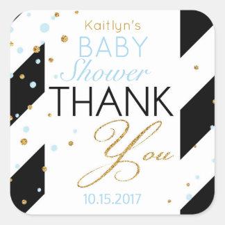 Stripe Gold Glitter Baby Blue Sprinkles Thank You Square Sticker