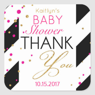 Stripe Gold Glitter Hot Pink Sprinkles Thank You Square Sticker