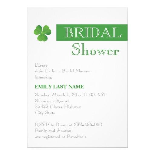 Stripe & green clover Irish wedding bridal shower Personalized Invite