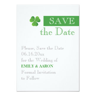 Stripe & green clover, Irish wedding Save the Date Card