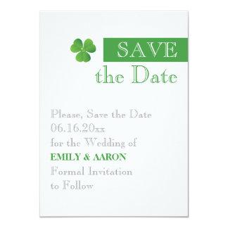 "Stripe & green clover, Irish wedding Save the Date 4.5"" X 6.25"" Invitation Card"