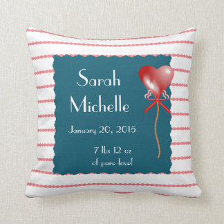 Stripe Heart LOVE Baby Name/bday/weight Slate/Rose Throw Pillow