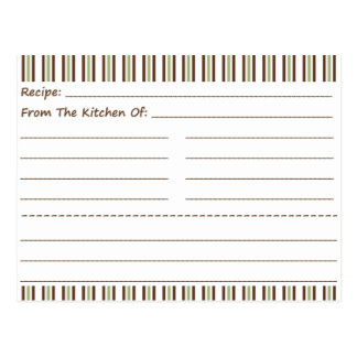 Stripe It Up Blank Recipe Cards Post Card