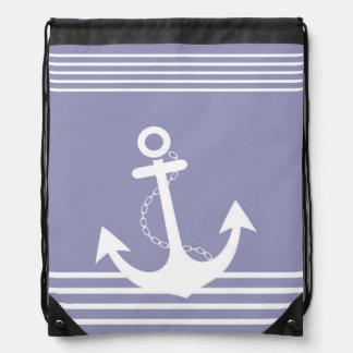 Stripe Lavender White Pattern with Anchor Drawstring Bag