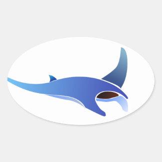 Stripe Manta Oval Sticker