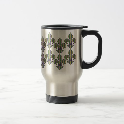 Stripe Mardi Gras Fleur de lis 15 Oz Stainless Steel Travel Mug