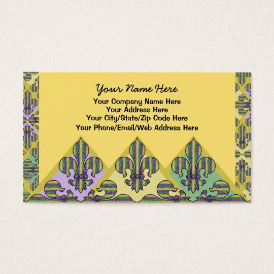 Stripe Mardi Gras Fleur de lis Business Card
