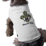 Stripe Mardi Gras Fleur de lis Dog Tshirt