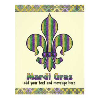 Stripe Mardi Gras Fleur de lis Custom Flyer