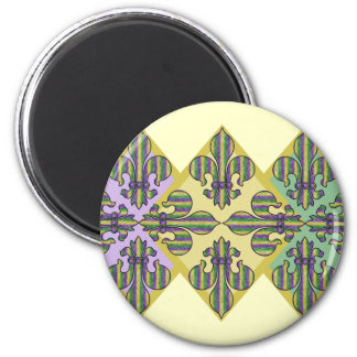 Stripe Mardi Gras Fleur de lis 2 Inch Round Magnet