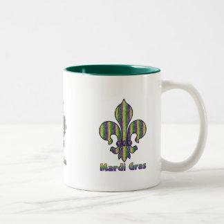 Stripe Mardi Gras Fleur de lis Coffee Mug