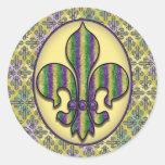 Stripe Mardi Gras Fleur de lis Classic Round Sticker