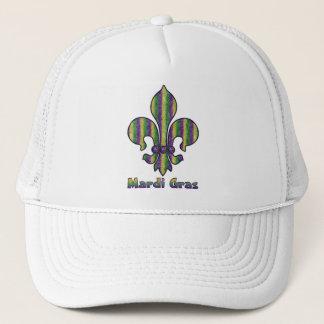 Stripe Mardi Gras Fleur de lis Trucker Hat