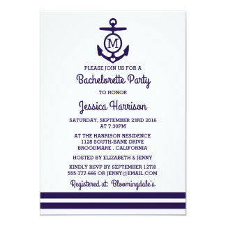 Stripe Monogram Anchor Nautical Bachelorette Party Card