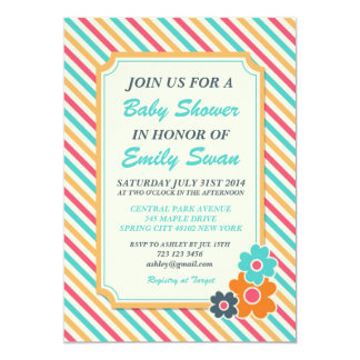 Stripe Pattern Baby Shower Invitation Card