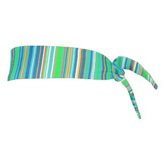 Stripe Pattern Blue Green Turquoise Tie Headband