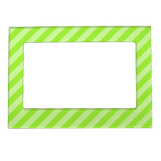 Stripe Pattern in Green. Magnetic Photo Frame