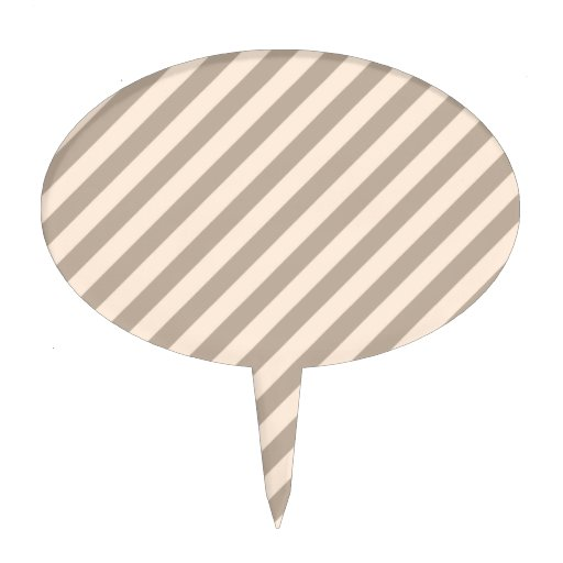 Stripe Pattern in Neutral Colors . Oval Cake Picks