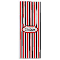 Stripe Pattern Just Add Name Wine Gift Bag