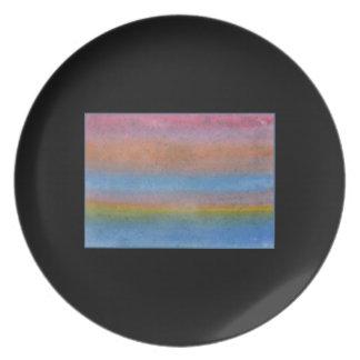 Stripe Pattern. On Black. Melamine Plate