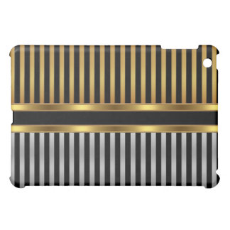 Stripe Pern Gold Black Silver iPad Mini Cases