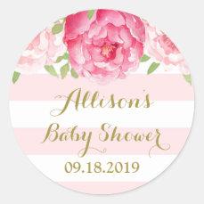 Stripe Pink Blush Floral Baby Shower Favor Tag