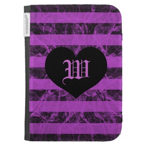 stripe punk black and purple design monogram kindle cases