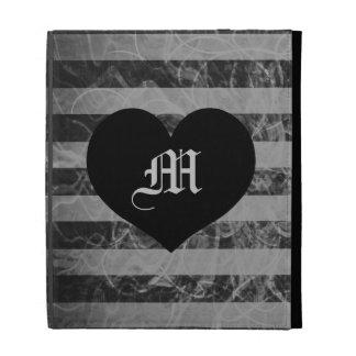stripe punk black and white design monogram iPad folio covers
