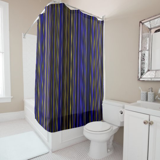Stripe Purple Yellow Blue Brown Shower Curtain