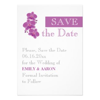 Stripe & radiant orchid wedding Save the Date