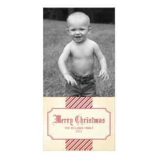 Stripe Ribbon Christmas Photo Greeting Card