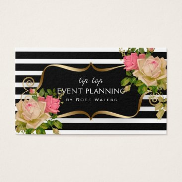 Professional Business Stripe Rose Flower Gold Frame Business Card