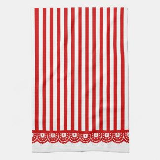 Stripe Skull Lace Tea Towel - Red on White