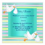 "STRIPE STORK TEAL BABY SHOWER INVITATION 5.25"" SQUARE INVITATION CARD"