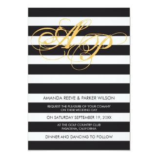 Stripe wedding invitation template black and white